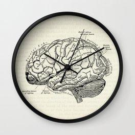 Vintage medical illustration of the human brain Wall Clock