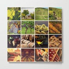 Wine Vineyard Collage - Cafe or Bar Decor Metal Print