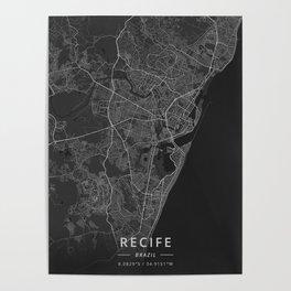 Recife, Brazil - Dark Map Poster