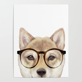 Shiba inu with glasses Dog illustration original painting print Poster