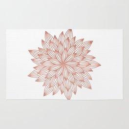 Mandala Flowery Rose Gold on White Rug