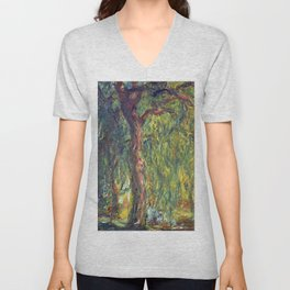 1918-Claude Monet-Weeping Willow-99 x 120 Unisex V-Neck