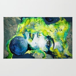 Esther Green (Set) by carographic watercolor portrait Rug
