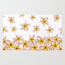 Lillies - Handpainted pattern - white background Rug