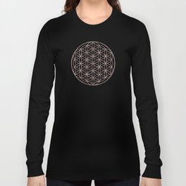 Mandala Flower of Life Rose Gold Space Stars Long Sleeve T-shirt