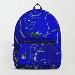 blue festive shiny metal pattern with small butterflies, Asian flowers and drops of water Backpack
