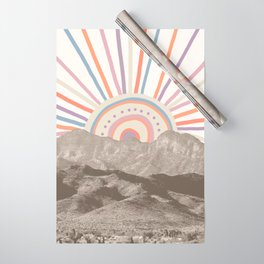 Summerlin Mountain Up // Abstract Vintage Mountains Summer Sun Surf Beach Vibe Drawing Happy Wall Ha Wrapping Paper