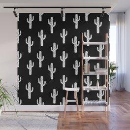 Cactus linocut pattern black and white minimal desert southwest socal joshua tree Wall Mural