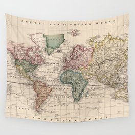 Vintage Map of The World (1833) Wall Tapestry