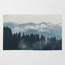 Forest mountains fogs & clouds Rug