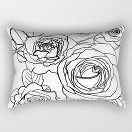 Feminine and Romantic Rose Pattern Line Work Illustration Rectangular Pillow