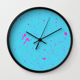 Neon Pink Spray Splatters on Turquoise Surface Wall Clock