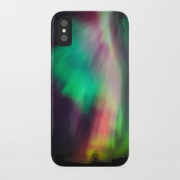 Big beautiful multicolored northern lights in Finland iPhone Case