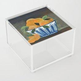 Still Life Oranges in Blue Bowl Acrylic Box