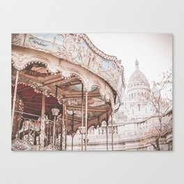 Montmartre Paris Carousel with Sacre Coeur Canvas Print