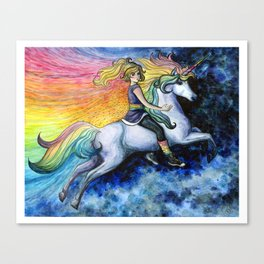 Rainbow Brite and Starlite - Unicorn - Fan Art Canvas Print