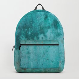 Weathered turquoise concrete wall texture Backpack