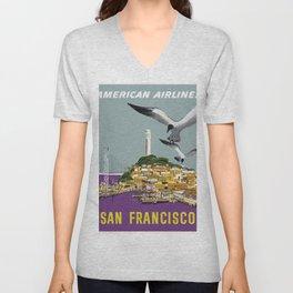 Vintage Travel Poster - San Francisco Unisex V-Neck