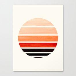 Burnt Sienna Mid Century Modern Minimalist Circle Round Photo Staggered Sunset Geometric Stripe Desi Canvas Print