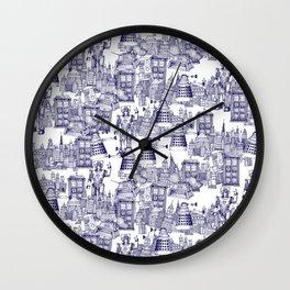 Doctor Who Toile de Jouy | 'Walking Doodle' | Blue Wall Clock