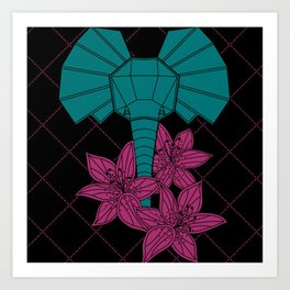 Elephant + Lilly Flowers Art Print