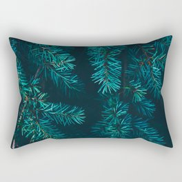 Pine Tree Close Up Neon Green Colorful Leaves Against A Black Background Rectangular Pillow