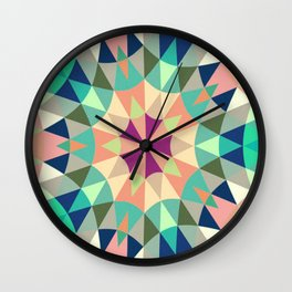 Cool Pink Retro Geometry Wall Clock