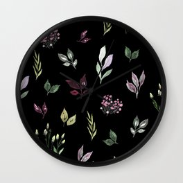 Tiny watercolor leaves pattern Wall Clock