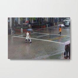 Harvard Square - Rainy Day Metal Print