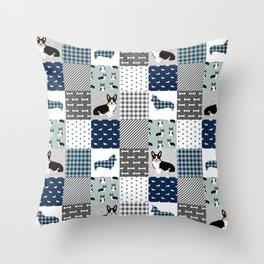Tricolored Corgi Patchwork - classic buffalo plaid, plaid, dog dad, dog lover, dog design, cute dogs Throw Pillow