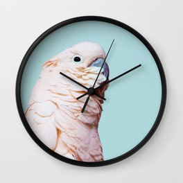 Parrot Photography | Pink Bird |  Tropical | Exotic | Turquoise Art | Blush Pink Wall Clock