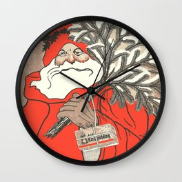 Christmas Pudding And Vintage Santa Vector Wall Clock