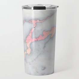 Rosegold Pink on Gray Marble Metallic Foil Style Travel Mug