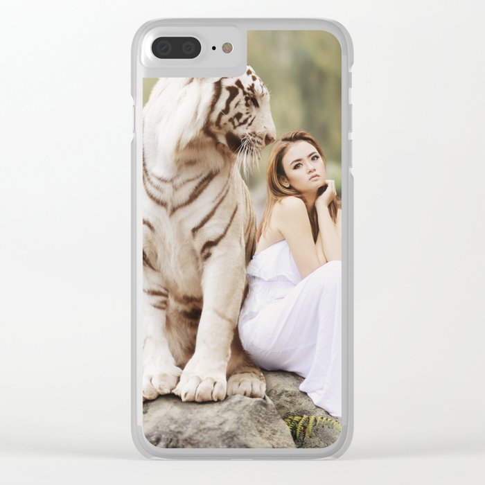 White Bengal Tiger With Japanese Woman Clear iPhone Case