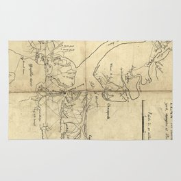 Vintage Newport News and Hampton Roads Map (1800) Rug