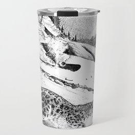 Snowboarder and snow leopard down the slope Travel Mug