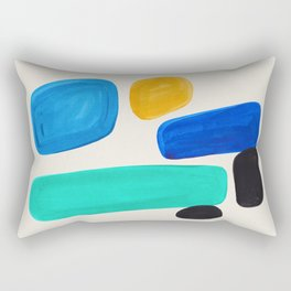 Mid Century Modern Retro Minimalist Colorful Shapes Blue Pebbles Yellow Aquatic Arrangement Harmony Rectangular Pillow