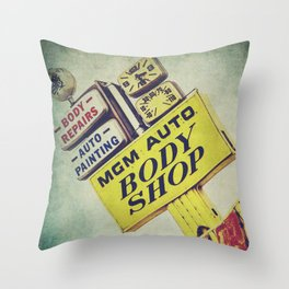 MGM Auto Body Shop Vintage Sign Throw Pillow