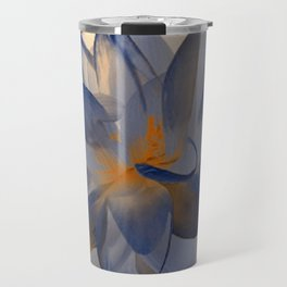 Midnight Blue Polka Dot Floral Abstract Travel Mug