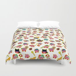 Kirby is swallowing everyone in here. Duvet Cover