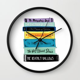 Hogwarts Stack of Wizardly Books Wall Clock