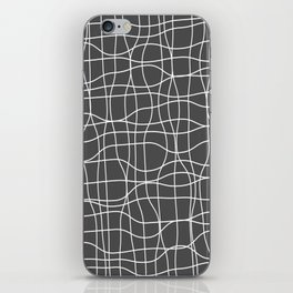 Crosshatch, white lines on dark gray iPhone Skin