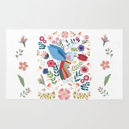Folk Art Inspired Hummingbird In A Burst Of Springtime Blossoms Rug