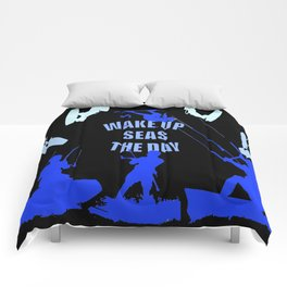 Wake Up Seas The Day Kiteboarder Royal Blue Comforters
