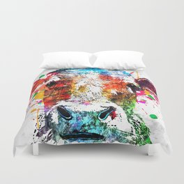 Cow Watercolor Grunge Duvet Cover