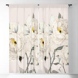 White Peonies Blackout Curtain