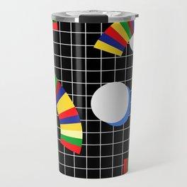 Memphis Grid & Rainbows Travel Mug