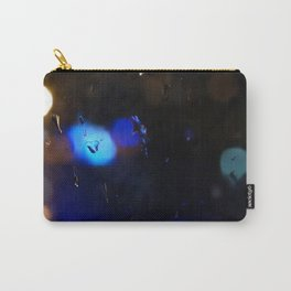 An abstract background with night lights and raindrops. Carry-All Pouch