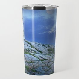 Lighthouse at Peggy's Cove in the Moonlight Travel Mug