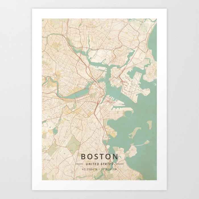Boston, United States - Vintage Map Kunstdrucke